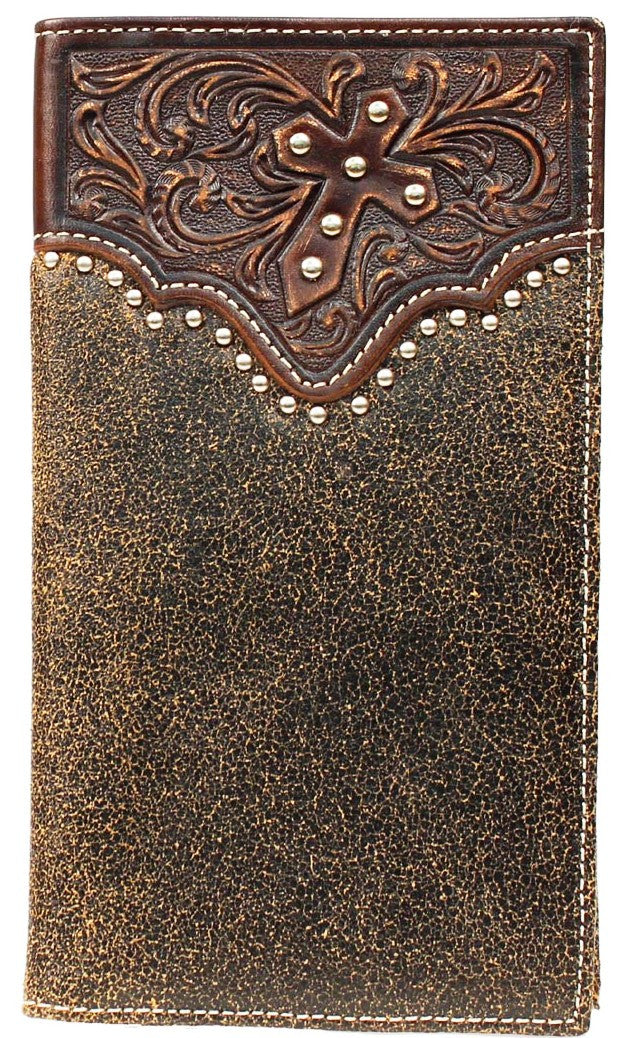 (MFWA3513602) Western Tooled Overlay Rodeo Wallet with Diagonal Cross