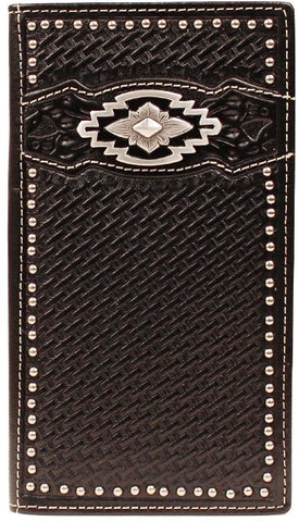 (MFWA3515001) Black Basketweave Western Rodeo Wallet with Southwest Concho
