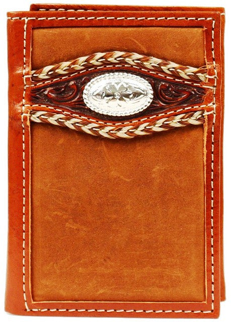 (MFWA3516844) Western Leather Rodeo Tri-Fold Wallet with Stitching and Oval Silver Concho