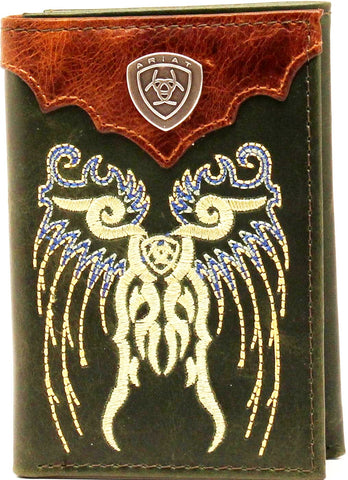 (MFWA3521828) Western Tri-Fold Wallet Green with Embroidered Wings