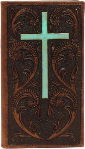 (MFWA3524202) Western Brown Tooled Rodeo Wallet with Turquoise Cross