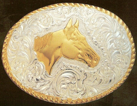 "(MFWC01576) ""Horse Head"" Crumrine Belt Buckle"