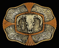 (MFWC10138) Western Steer Skull Belt Buckle by Crumrine