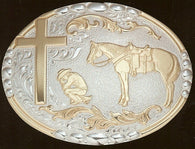 "(MFWC15100) ""Praying Cowboy"" Belt Buckle by Crumrine"