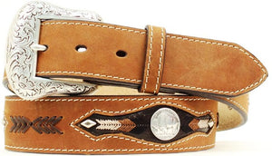 (MFWN2412044) Men's Western Brown Distressed Belt with Buffalo Nickel Conchos