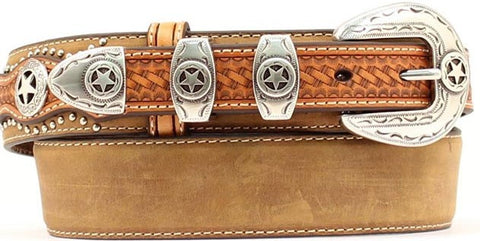 "(MFWN2501844) Western Leather 1-1/2"" Men's Belt with Texas Star Accents"