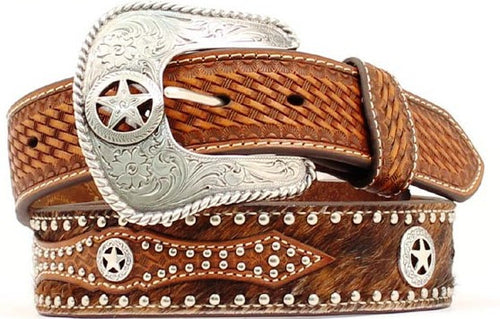 (MFWN2506808) Men's Western Tan Leather/Calf Hair Texas Star Belt by Nocona (1-1/2