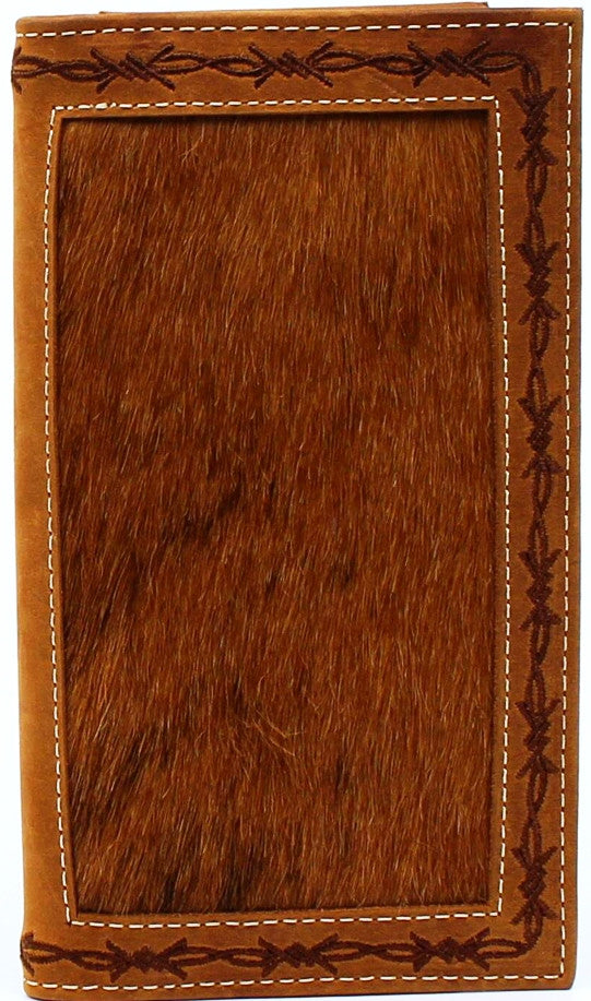 (MFWN5410008) Western Calf Hair Rodeo Wallet with Barbwire Edge