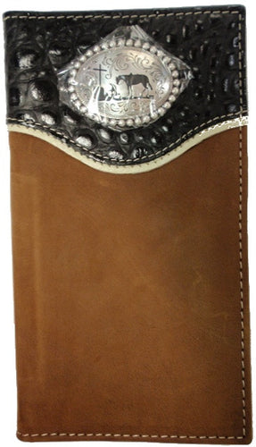 (MFWN5410644) Western Croc Leather Rodeo Wallet/Checkbook Cover with Praying Cowboy