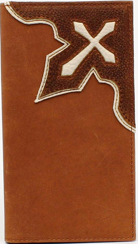 (MFWN54152139) Western Cream & Brown Leather Rodeo Wallet with Cross
