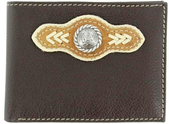 (MFWN5418402) Western Brown Leather/Nylon Bi-Fold Wallet with Silver Round Concho and Lacing