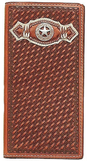 (MFWN5420208) Western Tan Rodeo Wallet with Texas Star Concho