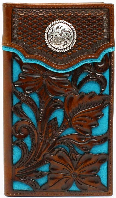 (MFWN5426127) Western Brown & Blue Rodeo Wallet