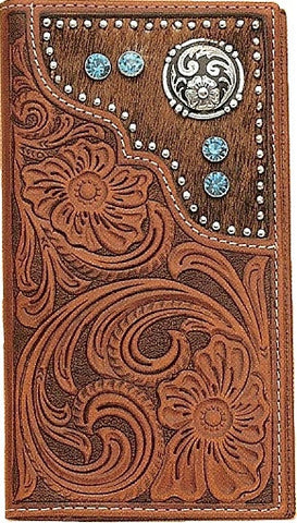 (MFWN5426208) Western Men's Tan Rodeo Wallet/Checkbook Cover with Hair-On by Nocona