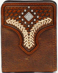 (MFWN5427344) Western Embroidered Medium Brown Leather Bi-Fold Money Clip