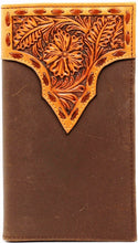 Load image into Gallery viewer, (MFWN5428508) Western Rodeo Wallet with Tan Tooled Top and Dark Brown Leather