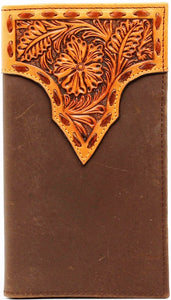 (MFWN5428508) Western Rodeo Wallet with Tan Tooled Top and Dark Brown Leather