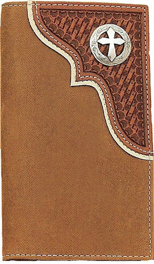 (MFWN54290217) Western Aged Bark Leather Rodeo Wallet/Checkbook Cover with Cross Concho by Nocona