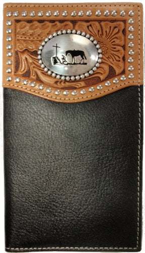 (MFWN5431401) Western Praying Cowboy Leather Wallet/Checkbook Cover