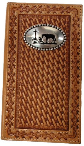 (MFWN5431648) Western Leather Basketweave Wallet/Checkbook Cover with Praying Cowboy Concho