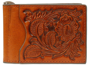 (MFWN5438808) Western Tan Tooled Leather Money Clip by Nocona