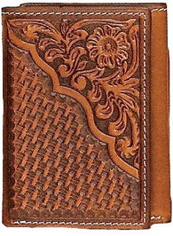 (MFWN5446608) Western Tan Tri-Fold Wallet Basketweave & Floral Tooled