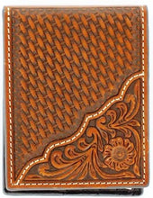 Load image into Gallery viewer, (MFWN5446708) Western Tan Tooled/Basketweave Leather Bi-Fold Wallet