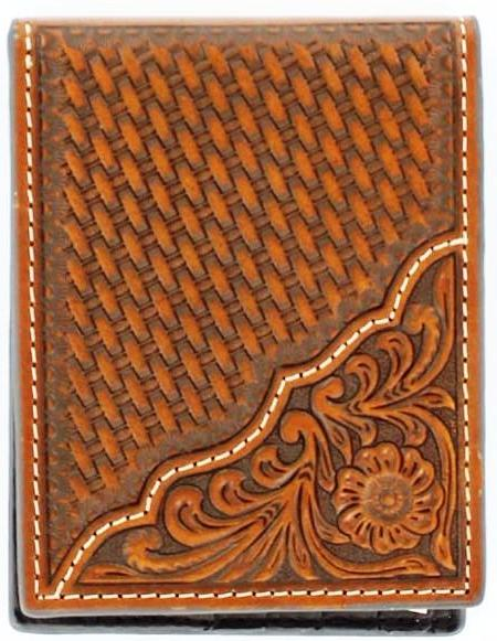 (MFWN5446708) Western Tan Tooled/Basketweave Leather Bi-Fold Wallet