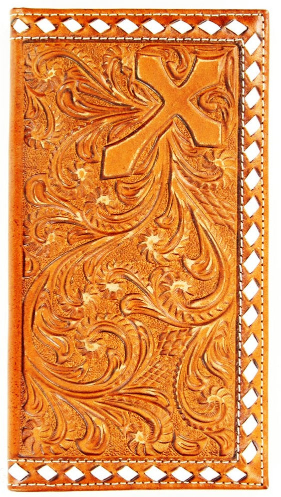 (MFWN5460637) Western Tan Tooled Rodeo Wallet with Cross & Buck Stitching
