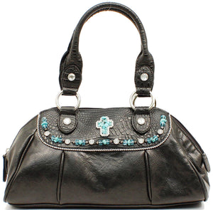 (MFWN7518801) Western Ladies' Black Gator Purse with Turquoise Cross