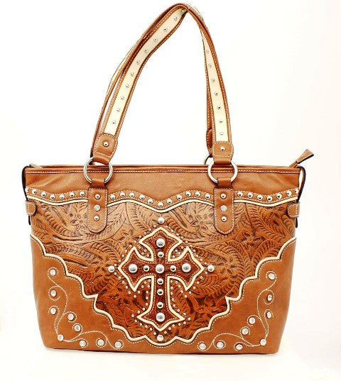 (MFWN7531608) Western Tan Tote with Cross by Nocona