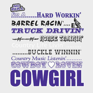 "(MBNB3173) ""Cowgirlin"" No Bull T-Shirt"