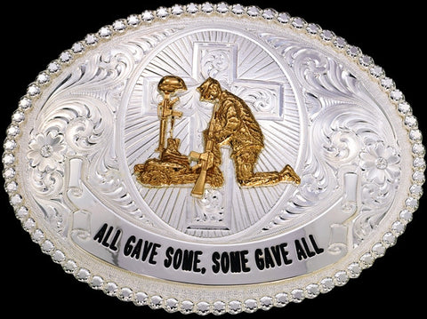 "(MS12011) ""All Gave Some, Some Gave All"" Western Silver Belt Buckle"