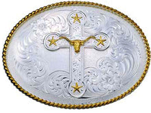 Load image into Gallery viewer, (MS1350-101780) Western Men's Longhorn & Stars Cross Belt Buckle by Montana Silversmiths