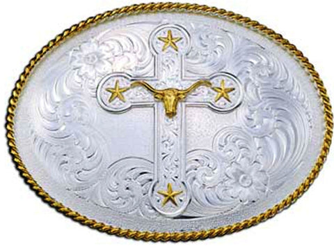 (MS1350-101780) Western Men's Longhorn & Stars Cross Belt Buckle by Montana Silversmiths