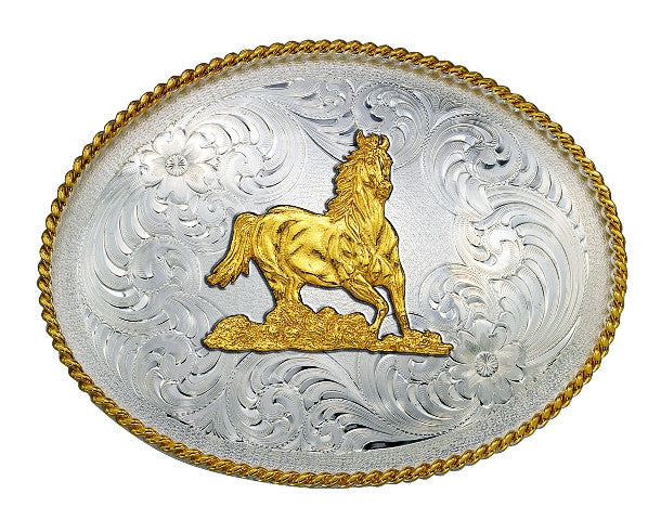 (MS1350-163) Western Silver & Gold Galloping Horse Belt Buckle