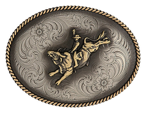 (MS1350LG-528) Western German Silver Belt Buckle with Bull Rider