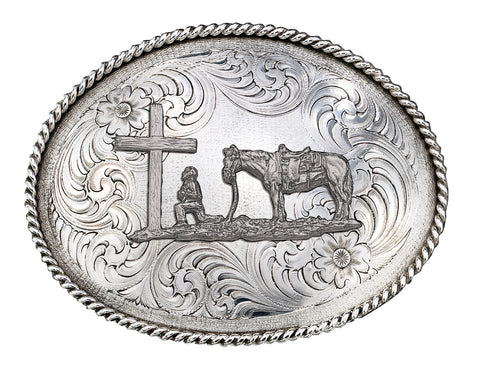 (MS1350RTS-731) Western Praying Cowboy Antiqued Silver Belt Buckle by Montana Silversmiths