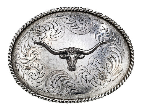 (MS1350RTS-771) Western Antiqued Oval Classic Engraved Belt Buckle with Longhorn