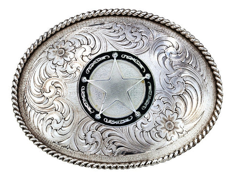 (MS1350RTS-C325U) Antiqued Medium Oval Classic Engraved Belt Buckle with Star Concho by Montana Silversmiths