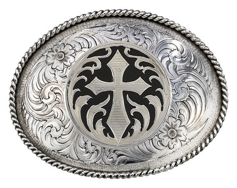 (MS1350RTS-C473U) Antiqued Silver Cross Belt Buckle by Montana Silversmiths