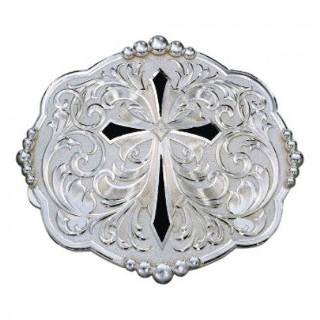 (MS14319) Diamond Shaped Cross with Silver Flourishes Western Belt Buckle by Montana Silversmiths