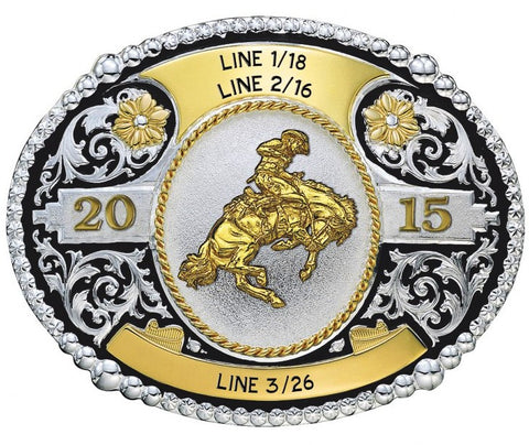 (MS17403-722) Western 2-Tone Trophy Buckle with Bronc Rider