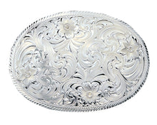Load image into Gallery viewer, (MS1840) Western Oval Silver Engraved Belt Buckle by Montana Silversmiths
