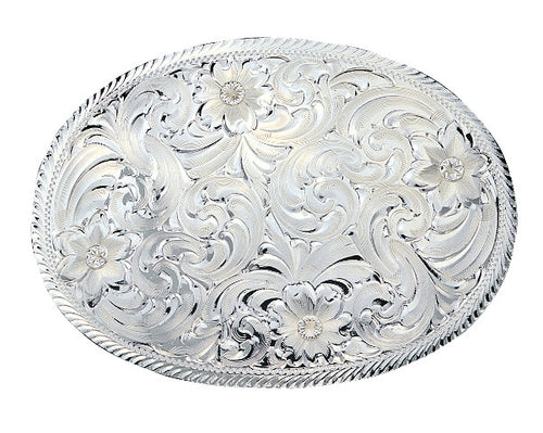 (MS1840) Western Oval Silver Engraved Belt Buckle by Montana Silversmiths