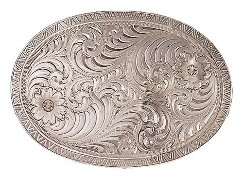(MS1850) Western Oval Engraved Silver Belt Buckle