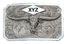 Load image into Gallery viewer, (MS19810) Longhorn Plaque Western Belt Buckle with Three Initial Engraving