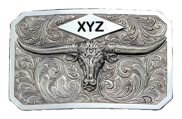 (MS19810) Longhorn Plaque Western Belt Buckle with Three Initial Engraving