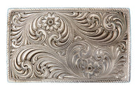 (MS21000RTS) Vintage Silver Rectangular Western Belt Buckle by Montana Silversmiths