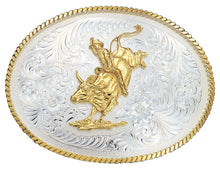 Load image into Gallery viewer, (MS2120) Large Silver Engraved Western Belt Buckle with Bull Rider